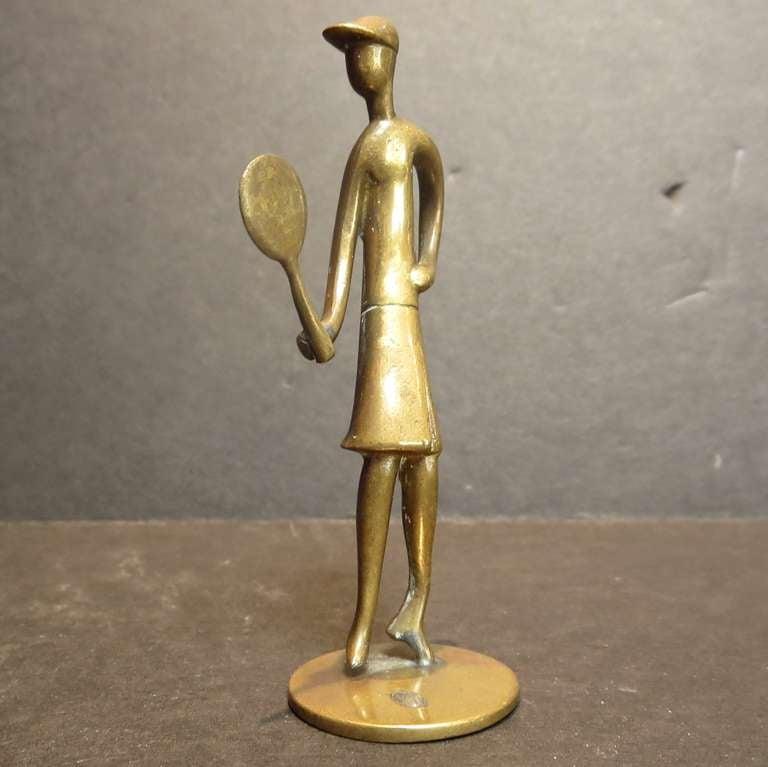 Bronze Tennis Player Sculpture by Karl Hagenauer 2