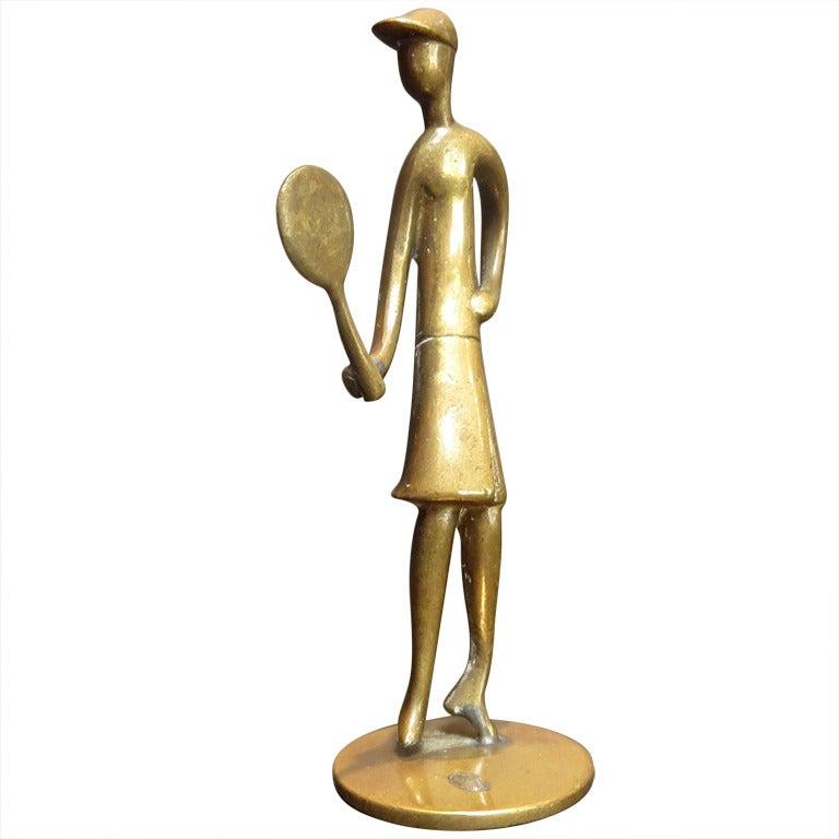 Bronze Tennis Player Sculpture by Karl Hagenauer 1