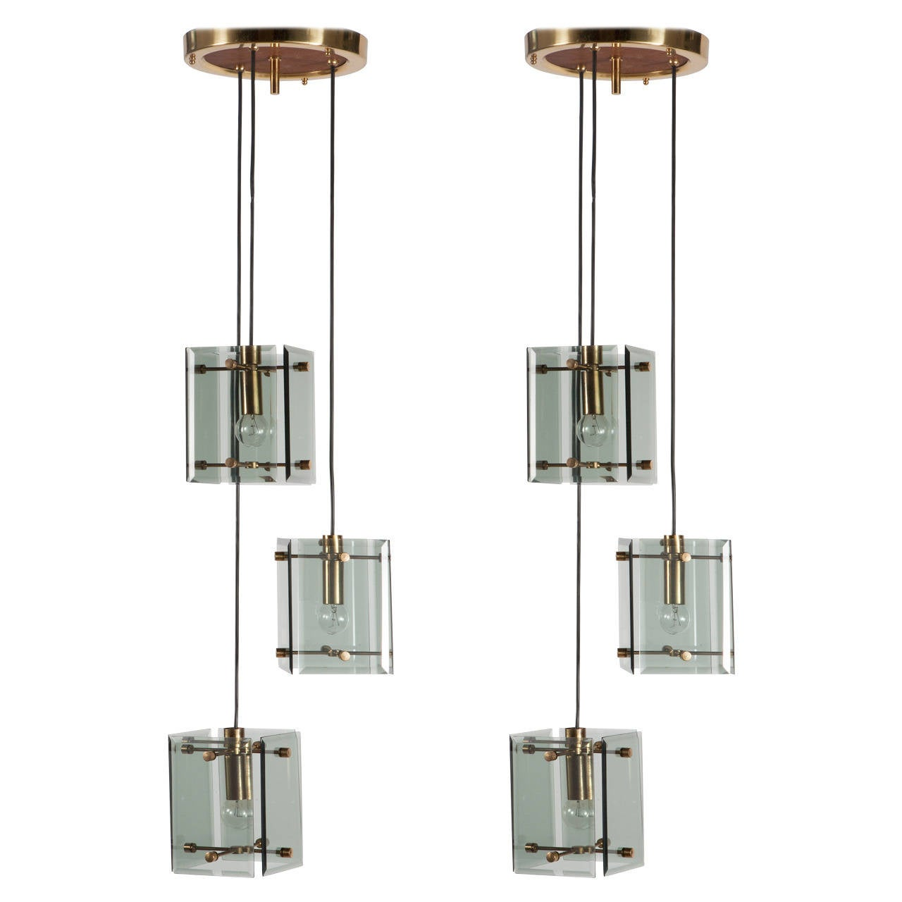 1960 Novelty Lighting : Pair of 1960s Max Ingrand Style Pendant Lights at 1stdibs