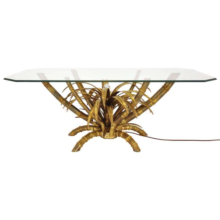 Illuminated Palm Tree Table By Maison Jansen At 1stdibs