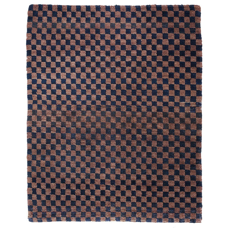 Antique Tibetan Rug: A Fine Antique Tibetan Chequerboard Checker Board Rug For