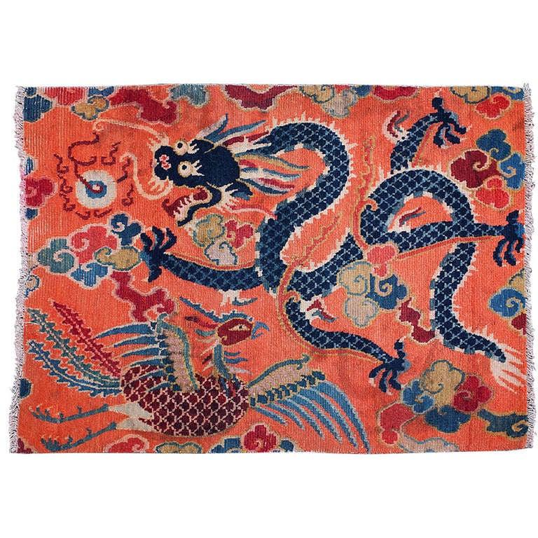 Antique Tibetan Rug: Charming Antique Tibetan Dragon And Phoenix Sitting Rug At