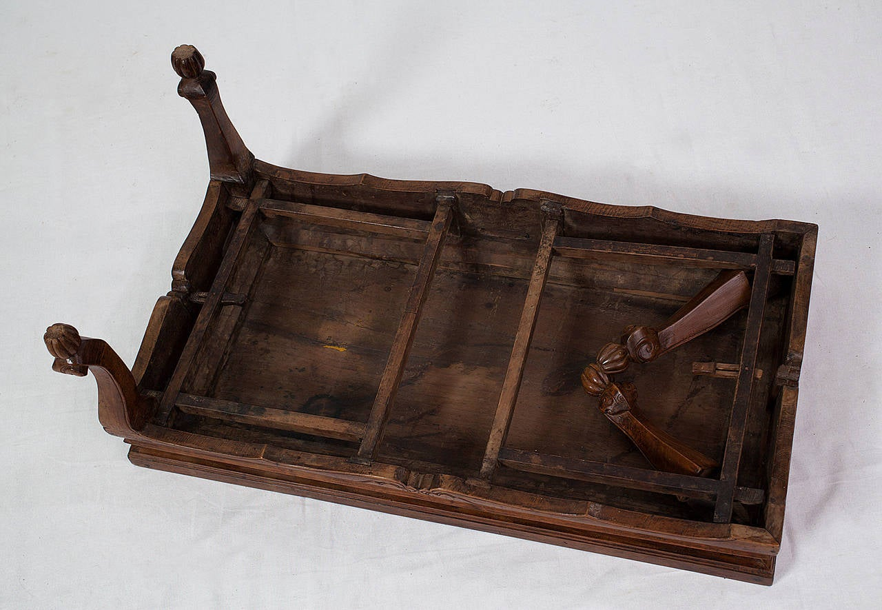 Antique fine chinese walnut wood kang table with folding for Antique chinese tables for sale