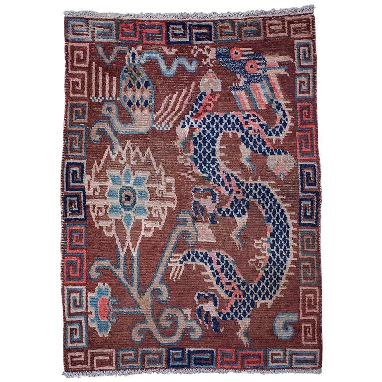 Unique Design Antique Tibetan Dragon Rug At 1stdibs
