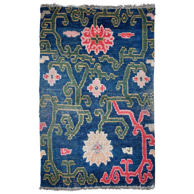 Antique Tibetan Rug: Antique Tibetan Rug Saddle Top With Lotus Flower Design At