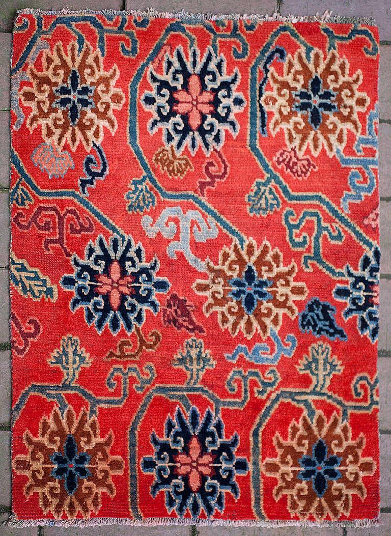 Elegant Antique Tibetan Lotus Flower Design Rug At 1stdibs