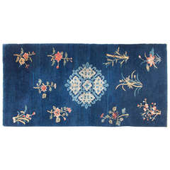 Charming Antique Open Field Baotou Rug with Bamboo