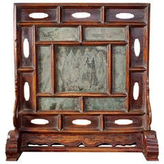 Rare Ming Dynasty Chinese Dreamstone Table Screen with Inset Green Stone Panels