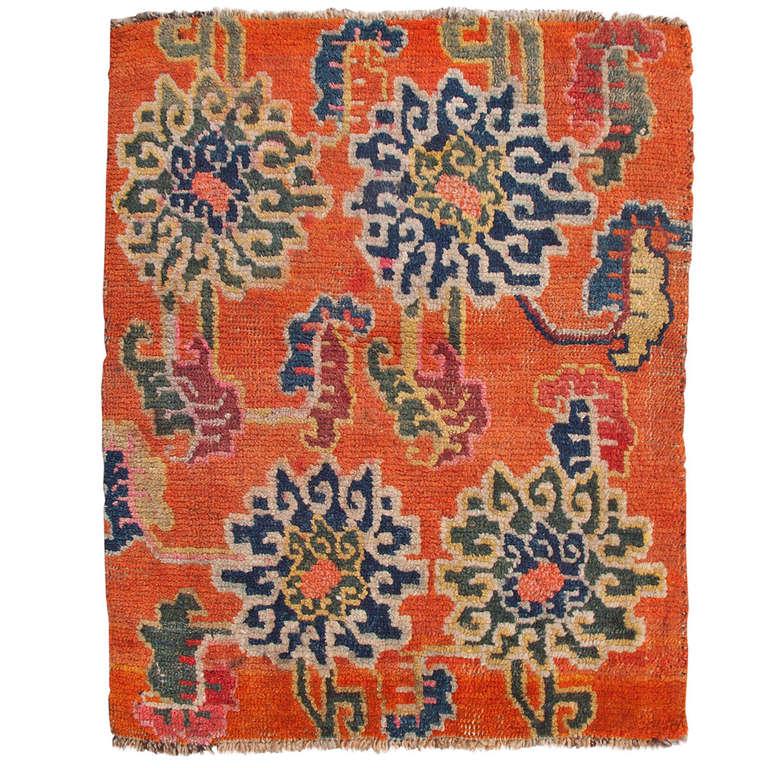 Antique Tibetan Rug: Antique Orange Tibetan Lotus Flower Design Rug At 1stdibs