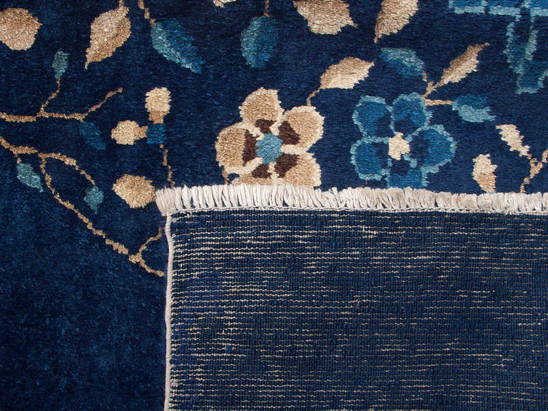 Classic Antique Indigo Peking Scatter Rug At 1stdibs