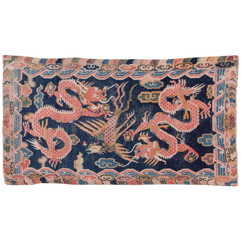 Antique Tibetan Double Dragon Phoenix Khaden Rug At 1stdibs