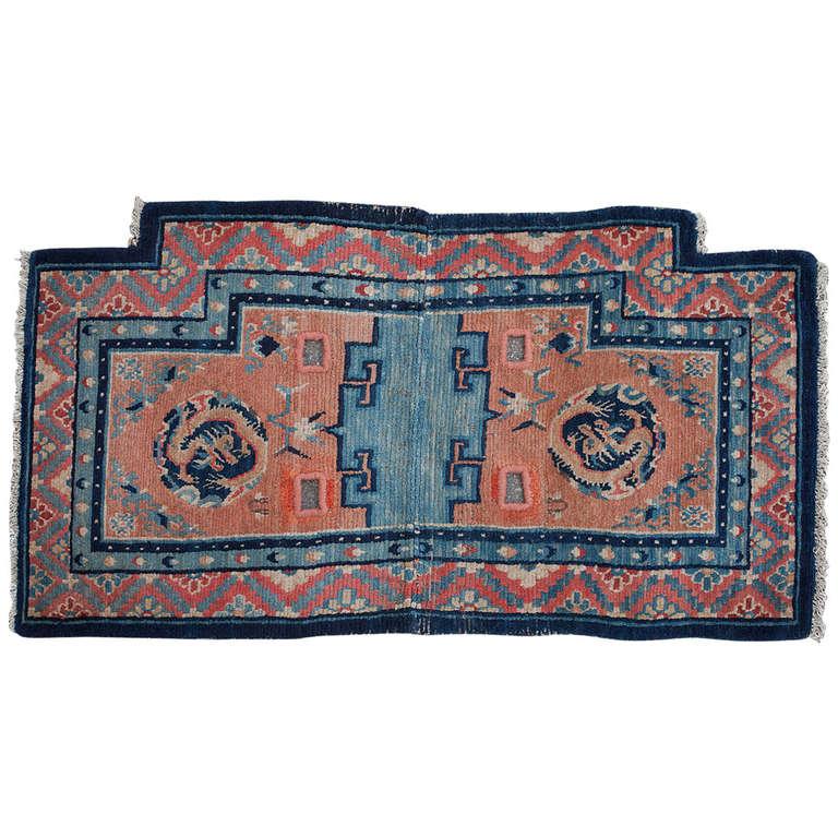 Antique Tibetan Rug: Charming Antique Tibetan Dragon Saddle Rug At 1stdibs
