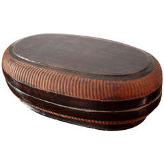 Chinese Ming Dynasty Black Lacquer and Basket Weave Oval Box Container