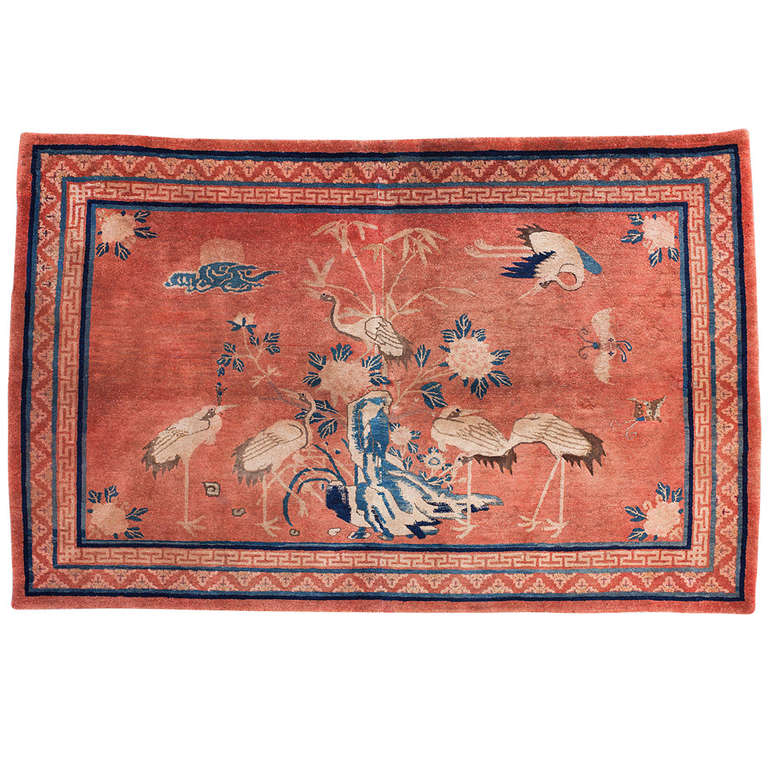 Antique Chinese Rug: Antique Baotou Inner Mongolian Pictorial Rug With Cranes