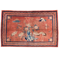 Antique Baotou Inner Mongolian Pictorial Rug with Cranes