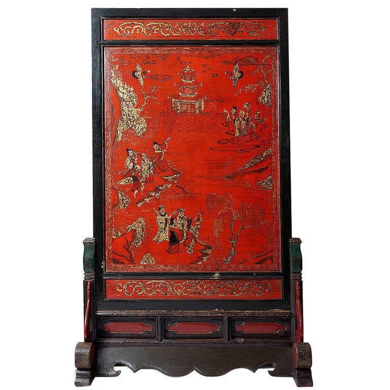 Exceptional Tall Chinese Standing Screen 19th Century