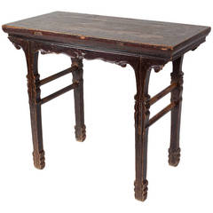 18th Century Chinese Qing Dynasty Elm Occasional Wine Table with Great Patina
