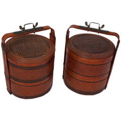 Antique Chinese Wicker Wedding Basket Pair, Qing Dynasty
