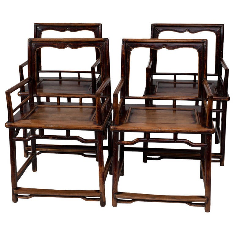 Rare set of four ming dynasty 17th century rose back for Asian chairs for sale
