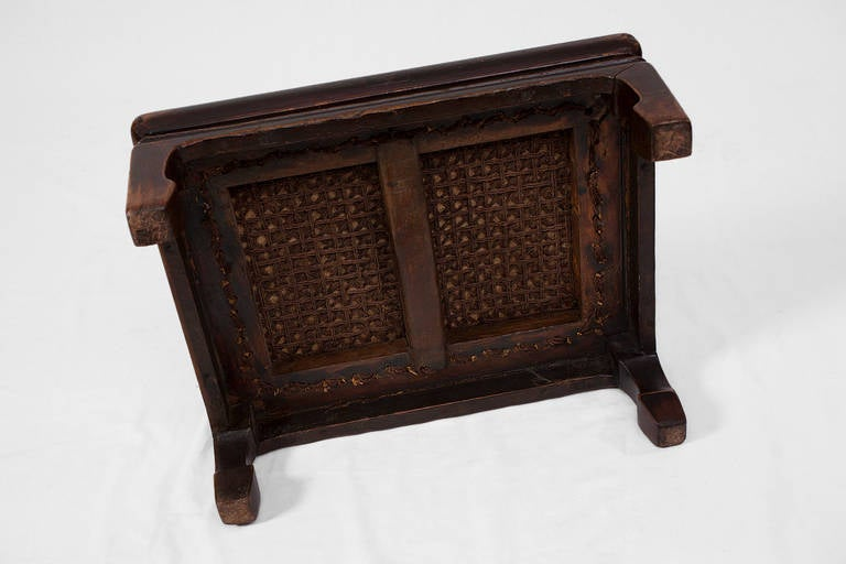 Elegant antique chinese footrest low table with soft cane top at 1stdibs - Vintage pieces of furniture old times elegance ...