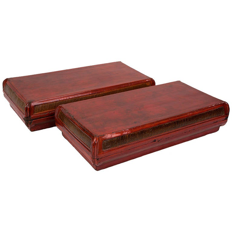 Elegant pair of antique chinese red lacquer food for Old asian furniture