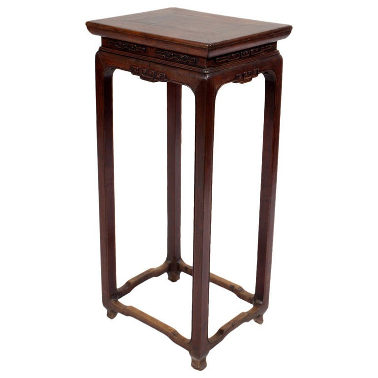 Chinese Wood Table ~ Antique chinese walnut wood flower stand tall side table