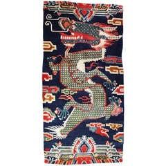 Antique Tibetan Dragon Pillar Rug, Rare Woven Jewel