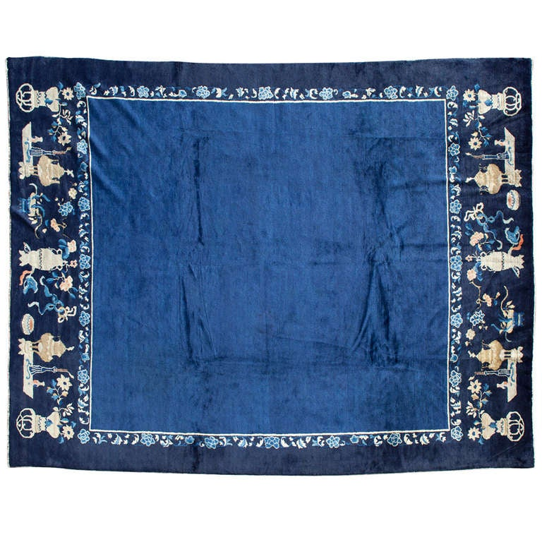 Blue And White Chinese Rugs: Blue Chinese Peking Rug At 1stdibs