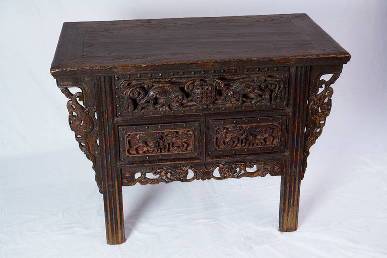 Beautifully Carved Chinese 16th 17th Century Ming Dynasty Chest Of Drawers 2