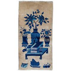 Auspicious Antique Baotou Pictorial Rug with Scholar's Objects
