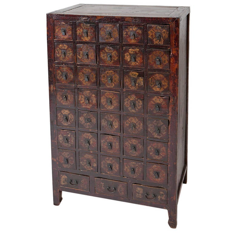 Antique traditional chinese medicine cabinet apothecary for Oriental furniture for sale