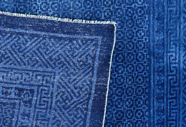 Classical Antique Chinese Indigo Blue Baotou Area Rug At