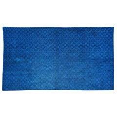 Beautiful Large Antique Indigo Blue Geometric Chinese Inner Mongolian Rug
