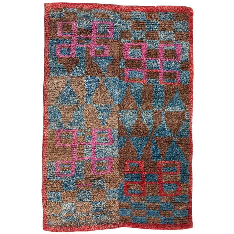 Checkerboard Rug: Outstanding Tibetan Checkerboard Sitting Rug With Lots Of
