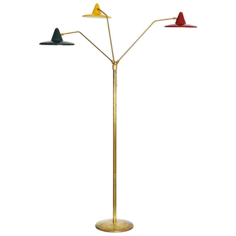 three arm floor lamp by stilnovo at 1stdibs. Black Bedroom Furniture Sets. Home Design Ideas