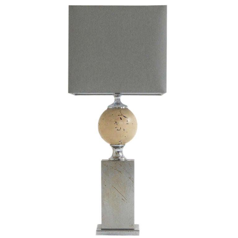 Barbier Table Lamp with Grey Silk Shade