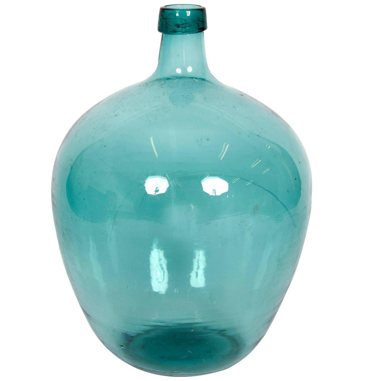 Early 20th Century Blue Demijohn Glass Bottle At 1stdibs
