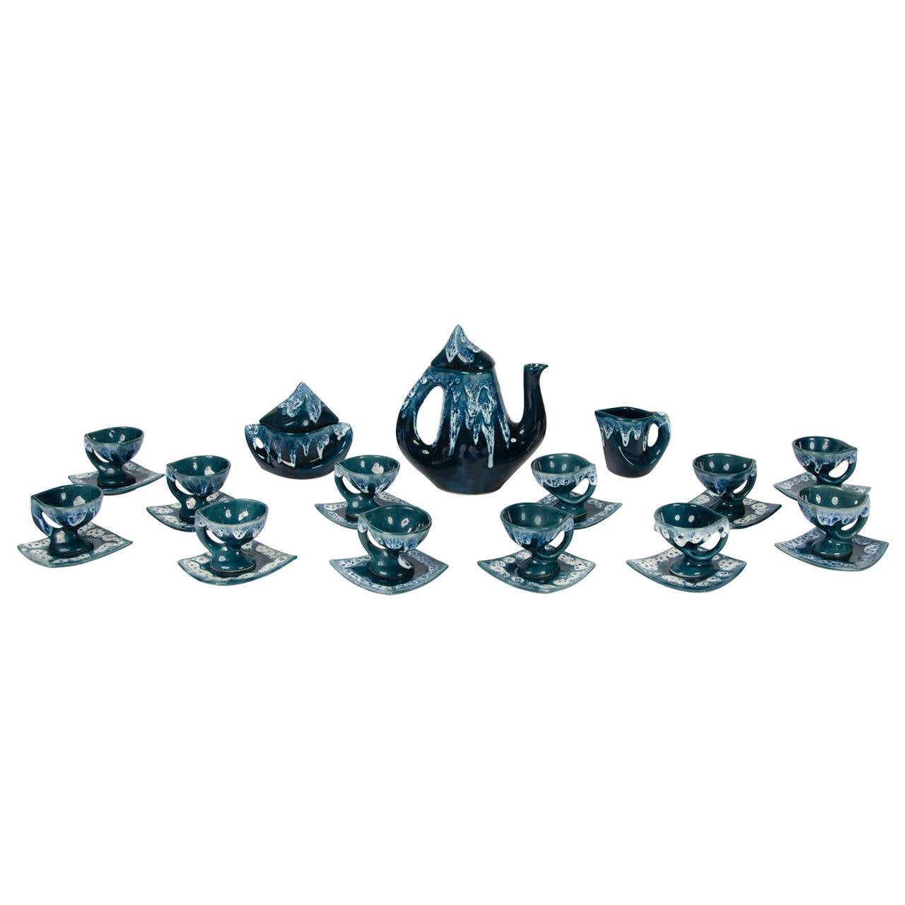 Rare 1960s Vintage Vallauris Dark Blue Pottery Ceramic 15 Pieces Coffee Set