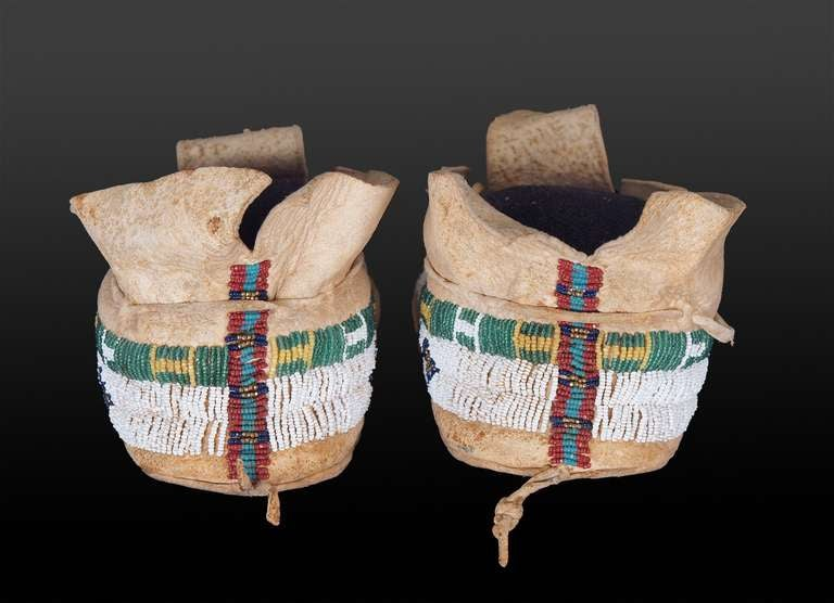American 19th Century Cheyenne Plains Indian Beaded Pictorial Moccasins, circa 1890 For Sale