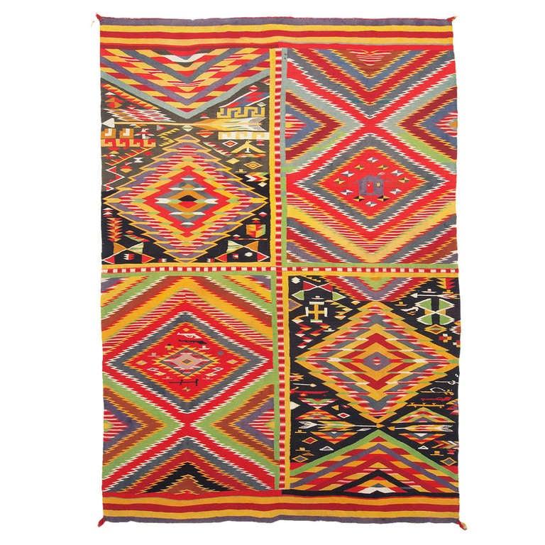 Navajo Germantown Wool Blanket, Patchwork Quilt Pictorial Weaving, circa 1880