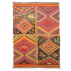 Navajo Germantown Wool Blanket, Patchwork Quilt Pictorial Weaving, circa 1880