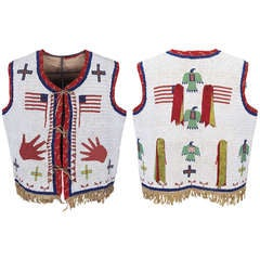 Fully Beaded Pictorial Native American Vest - Sioux, 19th Century