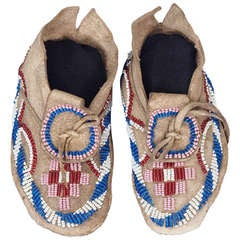Native American Beaded Child's Moccasins, Kiowa (Plains), 19th Century
