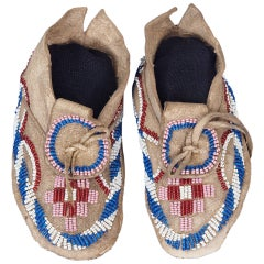 Native American Beaded Child's Moccasins, Kiowa-Apache (Plains), circa 1875-1900