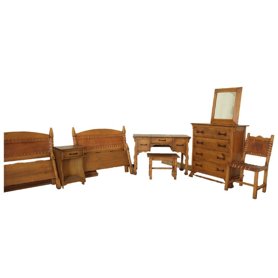 Vintage Monterey Furniture Bedroom Set, Spanish Revival, California, 1930s-1940s