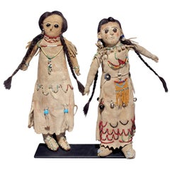 Pair of Antique Native American Dolls, Athapaskan, Alaska, 19th Century