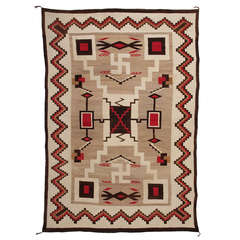 Large Vintage Navajo Trading Post Rug - early 20th century