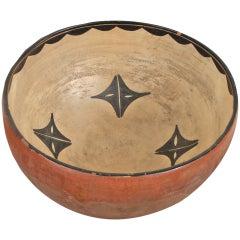 Historical Pueblo Pottery Dough Bowl, Tesuque, 19th century (circa 1875-1900)