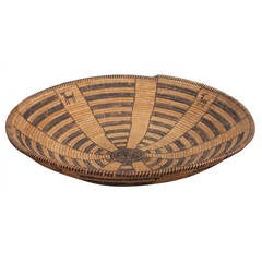 Antique Native American Pictorial Basketry Tray, Apache 19th Century