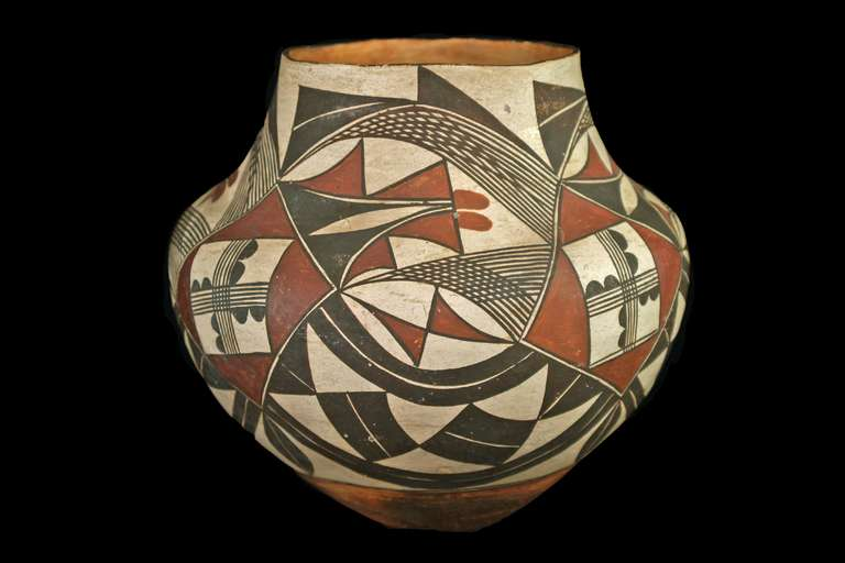Antique Native American Polychrome Pottery Jar Acoma 19th
